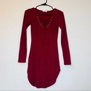 Holiday Small Long Sleeve Red Dress